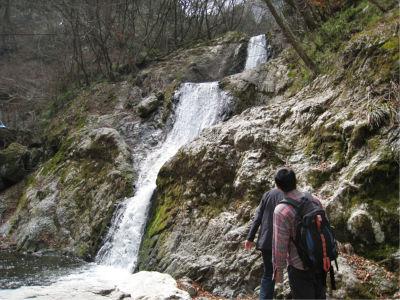 傾斜もそんなにきつくないので、滝の横の岩をはい上がることも可能。危険なのでお勧めはしませんが。
